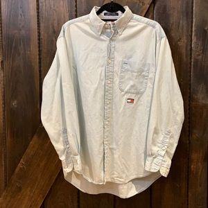 Tommy Jeans light wash classic button down long sleeve shirt